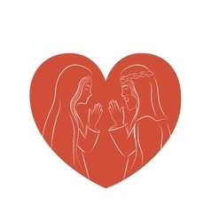 Jesus and Mary inside heart design vector image