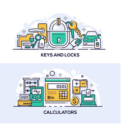 Keys and locks and calculators banner template vector