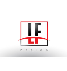 lf l f logo letters with red and black colors and vector image