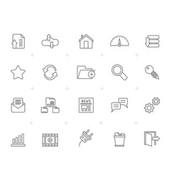 line hosting server and internet icons vector image