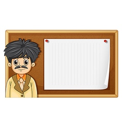 Male teacher standing in front of board vector