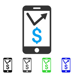 Mobile sales report flat icon vector