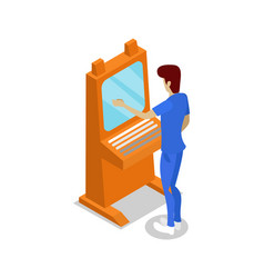 Operator console assembly line isometric 3d icon vector