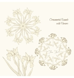 Ornamental rounds with flowers vector image