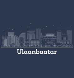 Outline ulaanbaatar mongolia city skyline with vector
