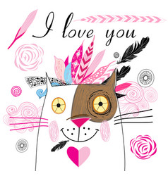 Postcard in love with a cat vector