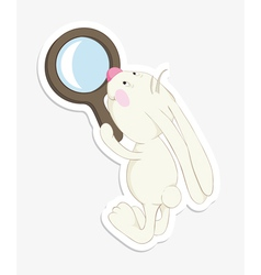 rabbit and magnifier sticker vector image