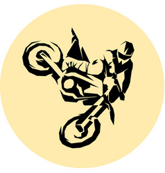 racer and sport motocross bike icon vector image