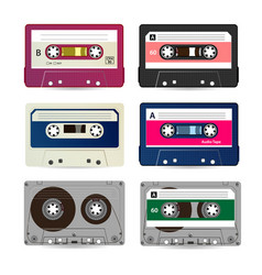 retro audio cassette collection of vector image