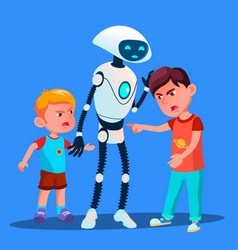 Robot sets apart two boys fighting kids vector