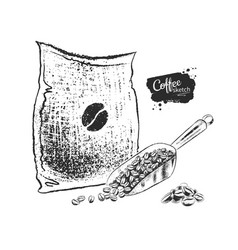 Sack with coffee and scoop vector