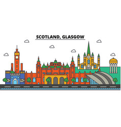 Scotland glasgow city skyline architecture vector