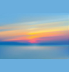 Sea or lake sunset blurred background realistic vector