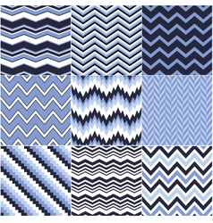 seamless blue zig zag set vector image