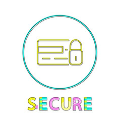 secure online shopping service round linear button vector image