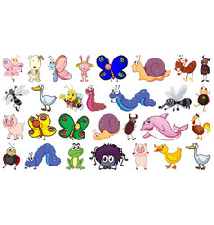 set animal character vector image