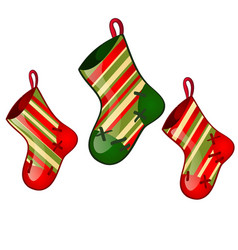 set hanging colored sock red and green colors vector image