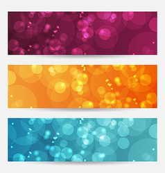 Set of abstract banners with bokeh effect vector