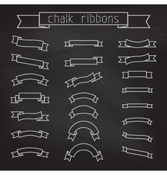 set of chalk ribbons vector image