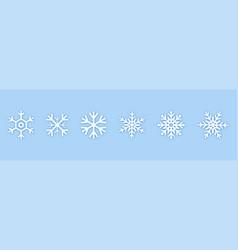set of white snowflakes icons black snowflake vector image