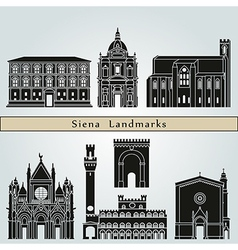 Siena landmarks and monuments vector