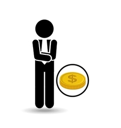 silhouette businessman concept with vector image