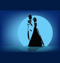 Silhouettes of the bride hugging the groom in the vector