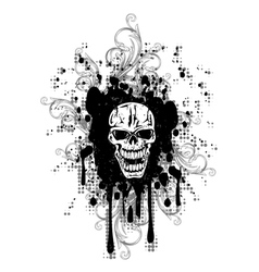 Skull with pattern retro vector