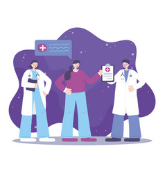 telemedicine physicians and patient message vector image