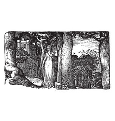 The lady and the rooks is an engraving on a wood vector