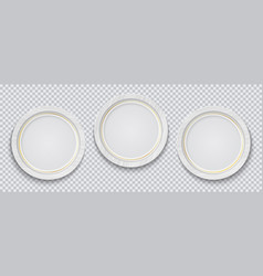 three realistic circle white photo frame vector image