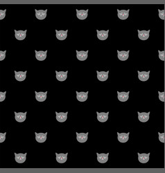 Tile pattern with black cats on black background vector
