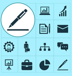 Trade icons set collection of chatting work man vector