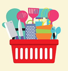 Utensil In Shopping Basket vector image