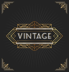 Vintage art deco frame for decorative design vector