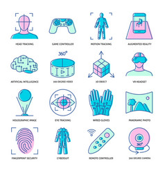 virtual reality icon set in colored linear style vector image