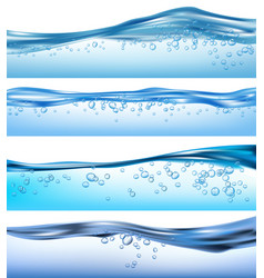 wave realistic nature ocean water splashes liquid vector image