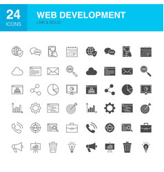 web development line glyph icons vector image