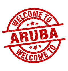 Welcome to aruba red stamp vector