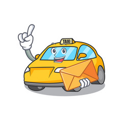With envelope taxi character cartoon style vector