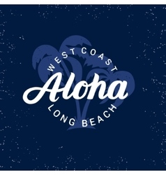 Aloha hand written lettering with palms vector image