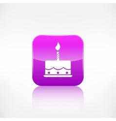 Birthday cake web icon Application button vector image