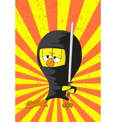 Cartoon ninja chick vector