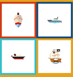 flat icon ship set of delivery sailboat vessel vector image vector image