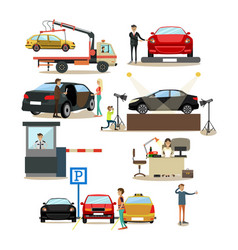 icons set of cars and people dealing with vector image vector image