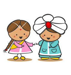 indians in national dress a boy and a girl in vector image