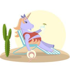 unicorn sits on a deckchair vector image vector image