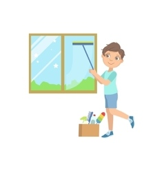 Boy Washing The Window With Wiper vector image vector image
