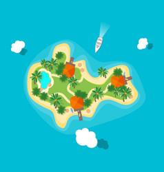Cartoon color island in ocean vector