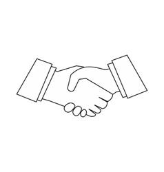 Handshake icon outline style vector